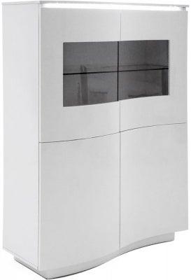 Vida Living Lazzaro White High Gloss Display Cabinet with LED