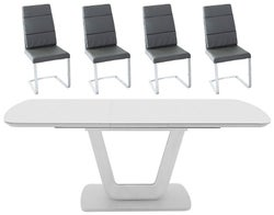 Vida Living Lazzaro 120cm-160cm Light Grey Matt Extending Dining Table and Malibu Grey Faux Leather Chairs