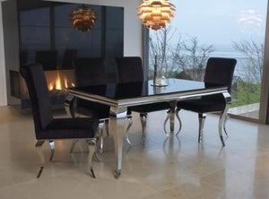 Vida Living Louis 160cm Black Glass Dining Table and Black Fabric Chairs