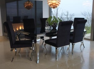 Vida Living Louis 200cm Black Glass Dining Table and Black Fabric Chairs