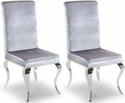 Vida Living Louis Silver Fabric Dining Chair (Pair)