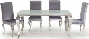 Vida Living Louis 160cm White Glass Dining Table and Silver Fabric Chairs