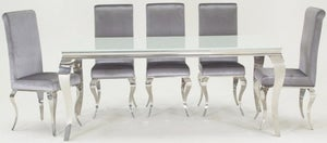Vida Living Louis 200cm White Glass Dining Table and Silver Fabric Chairs