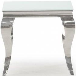 Vida Living Louis White Glass End Table