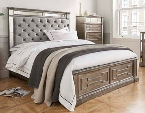 Vida Living Ophelia Grey Mirrored Bed