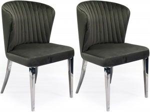 Vida Living Ottavia Grey Velvet Dining Chair (Pair)