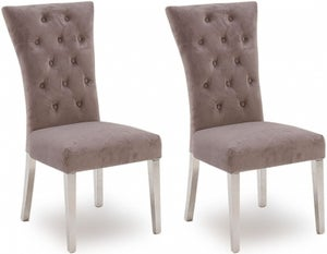 Vida Living Pembroke Taupe Velvet and Stainless Steel Chrome Dining Chair (Pair)