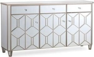 Vida Living Rosa Geometric Mirrored 3 Door 3 Drawer Sideboard