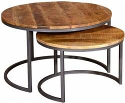Vida Living Savannah Industrial Round Nest of 2 Coffee Tables