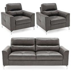 Vida Living Tanaro Grey Leathaire 3+1+1 Seater Sofa