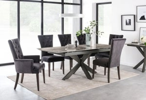 Vida Living Valerius 170cm-220cm Grey Extending Dining Table and Charcoal Velvet Chairs