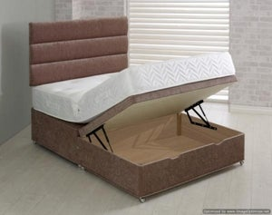 Vogue Half End Lift Ottoman Fabric Divan Bed Base