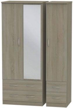 Avon Darkolino 3 Door 4 Drawer Mirror Wardrobe