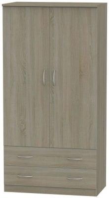 Avon Darkolino 2 Door 2 Drawer 3ft Wardrobe