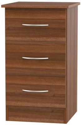 Avon Noche Walnut 3 Drawer Bedside Cabinet