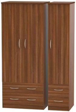 Avon Noche Walnut 3 Door 4 Drawer Wardrobe