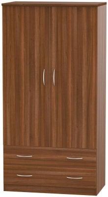 Avon Noche Walnut 2 Door 2 Drawer 3ft Wardrobe