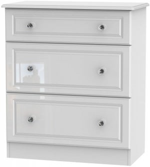 Balmoral High Gloss White 3 Drawer Deep Chest