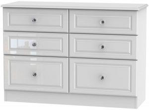 Balmoral High Gloss White 6 Drawer Midi Chest