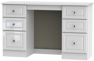 Balmoral High Gloss White Double Pedestal Dressing Table