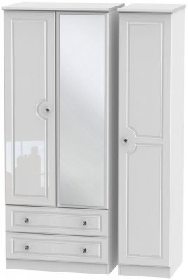 Balmoral High Gloss White 3 Door 2 Left Drawer Combi Wardrobe