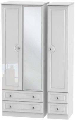 Balmoral High Gloss White 3 Door 4 Drawer Tall Mirror Wardrobe