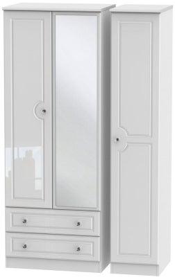 Balmoral High Gloss White 3 Door 2 Left Drawer Tall Combi Wardrobe