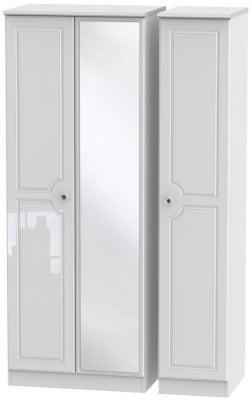 Balmoral High Gloss White 3 Door Tall Mirror Wardrobe