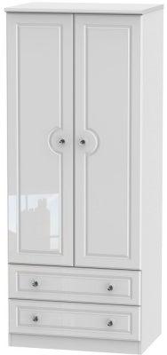 Balmoral High Gloss White 2 Door 2 Drawer Wardrobe