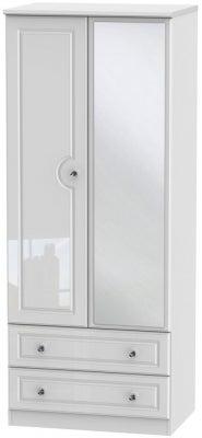 Balmoral High Gloss White 2 Door Mirror Combi Wardrobe