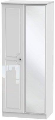 Balmoral High Gloss White 2 Door Mirror Wardrobe