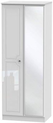 Balmoral High Gloss White 2 Door Tall Mirror Wardrobe