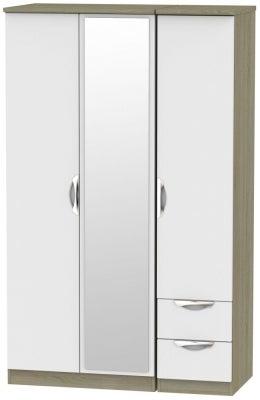 Camden 3 Door 2 Right Drawer Mirror Wardrobe - Grey and Darkolino