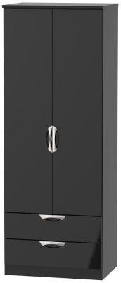 Camden High Gloss Black 2 Door 2 Drawer Tall Wardrobe