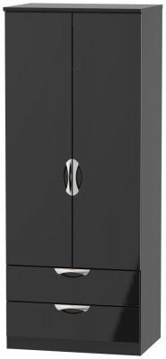 Camden High Gloss Black 2 Door 2 Drawer Wardrobe