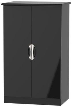 Camden High Gloss Black 2 Door Midi Wardrobe
