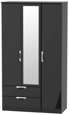 Camden High Gloss Black 3 Door 2 Left Drawer Tall Combi Wardrobe