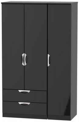 Camden High Gloss Black 3 Door 2 Left Drawer Wardrobe