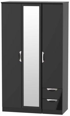 Camden High Gloss Black 3 Door 2 Right Drawer Tall Combi Wardrobe