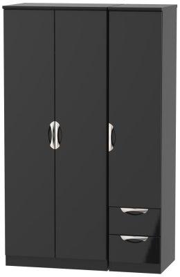 Camden High Gloss Black 3 Door 2 Right Drawer Wardrobe
