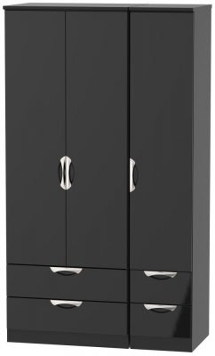 Camden High Gloss Black 3 Door 4 Drawer Tall Wardrobe