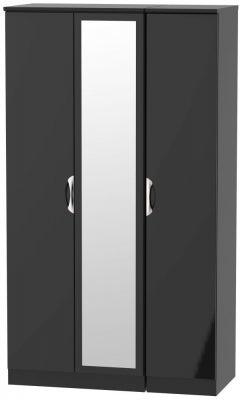 Camden High Gloss Black 3 Door Tall Mirror Wardrobe