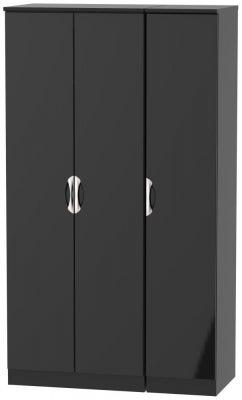 Camden High Gloss Black 3 Door Tall Wardrobe