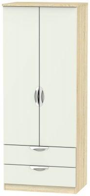 Camden 2 Door 2 Drawer Wardrobe - High Gloss Kaschmir and Bardolino