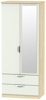 Camden 2 Door Mirror Combi Wardrobe - High Gloss Kaschmir and Bardolino