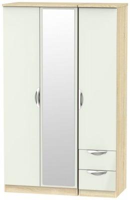 Camden 3 Door 2 Right Drawer Mirror Wardrobe - High Gloss Kaschmir and Bardolino