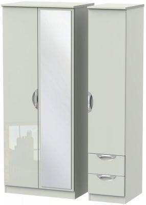 Camden High Gloss Kaschmir 3 Door 2 Right Drawer Mirror Wardrobe