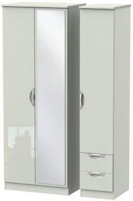 Camden High Gloss Kaschmir 3 Door 2 Right Drawer Tall Mirror Wardrobe