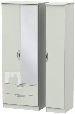 Camden High Gloss Kaschmir 3 Door 2 Left Drawer Tall Mirror Wardrobe