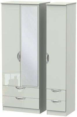 Camden High Gloss Kaschmir 3 Door 4 Drawer Tall Mirror Wardrobe